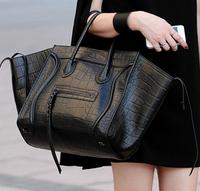 Fashion luggage phantom illusiveness crocodile pattern cowhide smiley bag genuine leather women's handbag