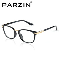 Parzin Plain Mirror Fashion Men Women Plain Glasses Eyeglasses Frame Black Tiger