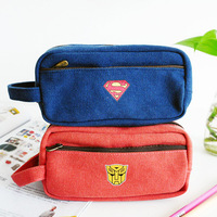 Novelty lovely korea style stationery series cartoon printing large capacity hand held canvas pencil case storage bag