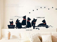 Free shipping Fashion DIY   Black Cat Family   Living room bedroom background decoration Wall Stickers 100 cm x 100 cm