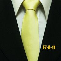 Mens Classic Solid Neck Ties For Men Yellow Novelty Neckties For Man Groom Business Gravatas 7CM F7-A-11