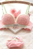 Sweet lace push up sexy plus size c cup fresh flower women's underwear bra set
