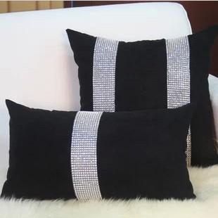 Acheter luxe classique mode housse de for Canape noir quel coussin