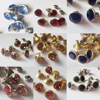 100pcs round rhinestone rivets A grade rhinestone studs gold metal + crystal rhinestone