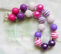 Free Shipment!2PCS/Lot Latest charming child/kid chunky beaded bubblegum necklace Wholesale/Retail for girl DIY jewelry!