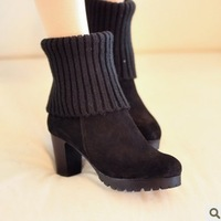Fashion genuine leather 2013 yarn tube boots thick heel medium-leg thermal boots female boots snow boots
