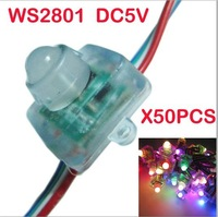 12mm WS2801 pixel module,DC5V input;full color; RGB LED Pixel Square IP68 Waterproof ;50pcs a string free shipping