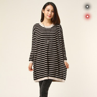 Size fits all autumn plus size sweater stripe o-neck loose sweater pullover plus size clothing long-sleeve sweater