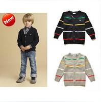 New arrive children autumn outerwear  Kids long sleeve striped  cardigan   boy  sweater