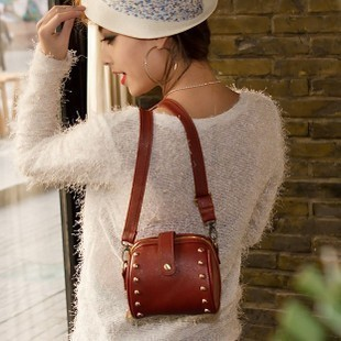 2013 women's bags candy color vintage rivet one shoulder small bag camera bag female bags