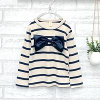 Female child endomorph long-sleeve stripe bow one-piece dress t-shirt 317 wholesale