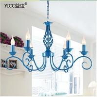Mediterranean blue iron lamp living room dining bedroom chandelier 9008-6 blue chandelier