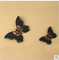Exclusive new European wrought iron blue colored glass sequins a pair of butterfly wall accessories creative art Household items