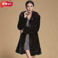 2013 mink fur medium-long fur overcoat outerwear plus size female