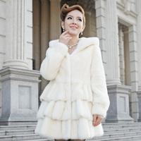 2013 mink white fur overcoat hooded 1341