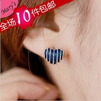 Small accessories british style stripe small stud earring love heart earrings earring