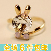 Z915 accessories crystal rabbit bow ring finger ring opening