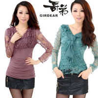 Stella free shipping Women's basic shirt long-sleeve T-shirt lace spring and autumn 2013