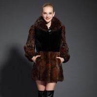 2013 marten overcoat female mink fur leather coat mink marten velvet long design