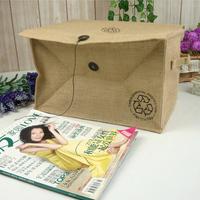 Zakka corchorus storage box finishing bags storage basket desktop storage box finishing box H6