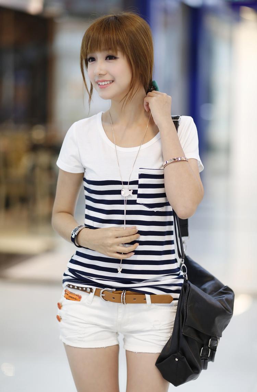 Fashionable T Shirts For Women Stripe t shirt women 2013
