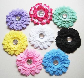 Free Shipping mix color 4.5'' Chiffon Flowers Hairclip DIY Fabric Flower Girl's Hair Accessories Handmade Flower FFCD026014