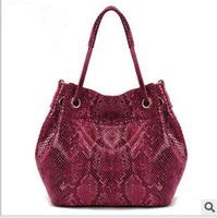 First layer of cowhide women's genuine leather serpentine pattern handbag designer tote bag one shoulder handbag free shipping