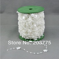 Free Shipping! 60meters/roll 12MM white star Pearl Beads Garland Wedding Centerpiece table Decoration Crafting DIY accessory