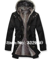 2012 winter men wadded jacket thickening coat wool with a hood slim wadded jacket overcoat men's winter trench long outerwear
