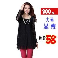 Stella free shipping Mm autumn women's 2013 lace long-sleeve loose plus size xxxxl one-piece dress