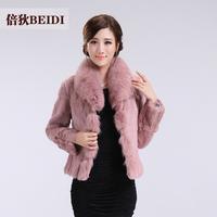 new arrival free shipping Fur winter women's 2013 full leather rabbit fur fox fur short slim design long-sleeve outerwear