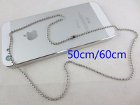 Global Free Shipping  2.0mm Stainless Steel Polished Material 304 Bead Chain 19.7 in. (50cm)  23.6 in. (60cm)  Dog Tag Keychain