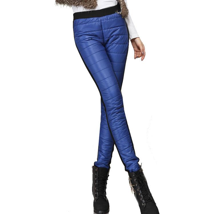 женщин вниз ватные брюки утолщаются зима теплая вниз брюки карандаш брюки лоскутное леггинсы куртки тонкий тонкий