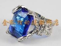 Black Butler Kuroshitsuji Sebastian Michaelis Ciel  Cosplay Ring with Blue Rhinestone High Quality! Free Shipping!