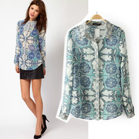 New fashion lapel retro geometric print long-sleeved shirt AC-16