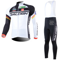 2013 RALEIGH Winter Cycling Clothings! Long Sleeve Cycling  thermal Fleece Jersey and BIB pants  with silicon gel pad Sets
