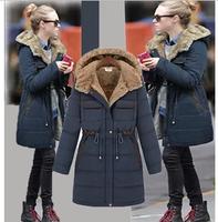 Free Shipping female winter coat fashion slim thickening wadded jacket medium-long cotton overcoat large size women's jackets
