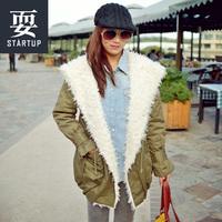 Free Shipping Fashion lantern sleeve loose berber fleece cotton-padded jacket plus size overcoat jacket winter women brand