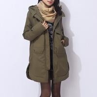 Free Shipping Hot-selling winter fashion women duck down jacket coat luxury army green overcoat wadded jacket loose plus size