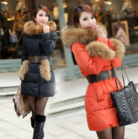 2013 new Down  Parkas coat women winter duck raccoon fur girls goose down jacket plus size long skirts women's Dress xl thick