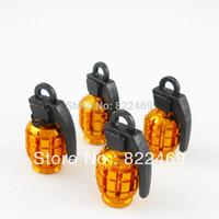 4 PCS/Set Grenade Design  Tire /Wheel Air Valve Stem Cap Covers Plugs Decor For Car Motorcycle Bike SUV (Aluminum/ Alloy Golden)