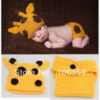 New! Crochet Baby Set Handmade Baby Hat + Diaper Sets Toddler Photogryphy Props Newborn Giraffe Outfit Beanie BH0846