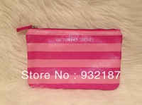 Free shipping,Pink stripe cosmetic bag storage bag