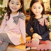 2013 autumn female child bow children's clothing dress long-sleeve T-shirt child casual stripe legging set