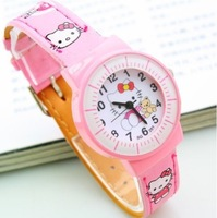 1PC Pink Hello Kitty Cartoon Children Watch Fashion Leather Belt Students Girls Gifts Quartz Wrist Watch, Free&Drop Ship
