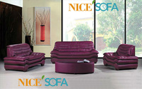 Foshan furniture purple leather sofa with coffee table A638#