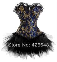 Sexy New Satin lace up boned Blue Gold Floral Lollita Corset Bustiter & Tutu Skirt Clubwear showgirl S-2XL
