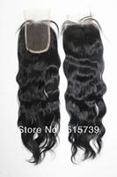 "Free Shipping Brazilian Virgin Hair Wavy Lace Top Closure  4""x4"" remi remy hair Lace Closure brazilian water wave closure"