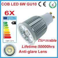 Free Shipping 2013 NEW SHARP COB Dimmable LED Spotlight LED 6W GU10 MR16 LED Downlight AC 200-240V With Aluminum House