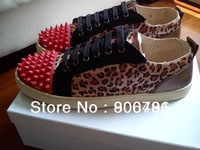 2013 Free Shipping New Red Bottom Sneakers Louis Junior Spikes Leopard Lace Up Men Fashion Shoes Factory Real Pics